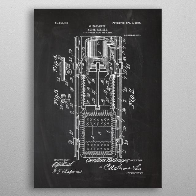 1907 Motor Vehicle - Patent Drawing metal poster