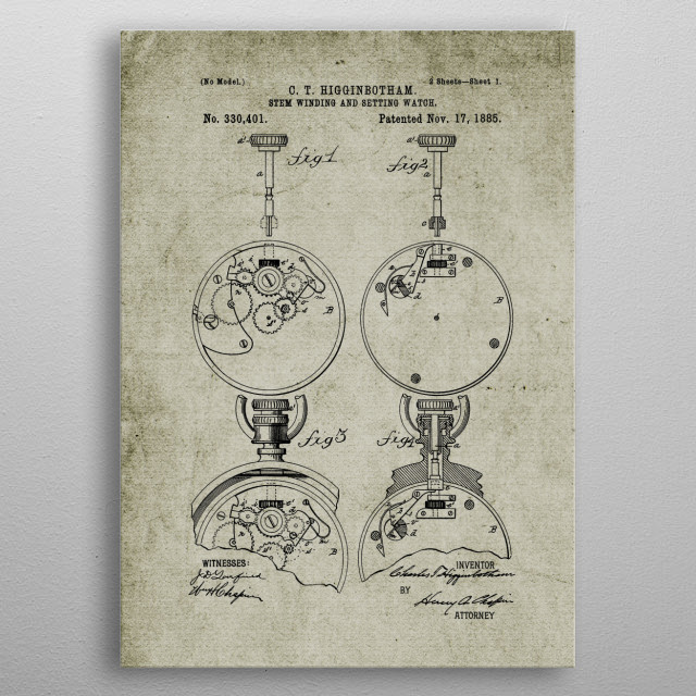 1885 Stem-Winding and Setting Watch - Patent metal poster