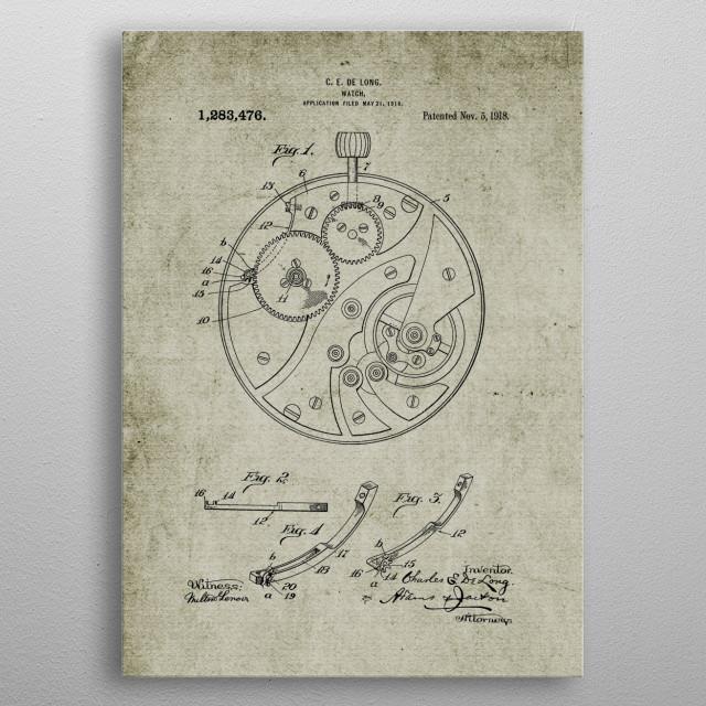 1918 Watch -Patent Drawing metal poster
