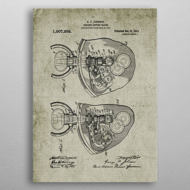 1911 Pendent Setting Watch metal poster
