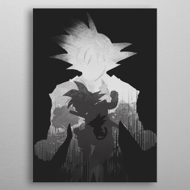 Monochrome Saiyan metal poster