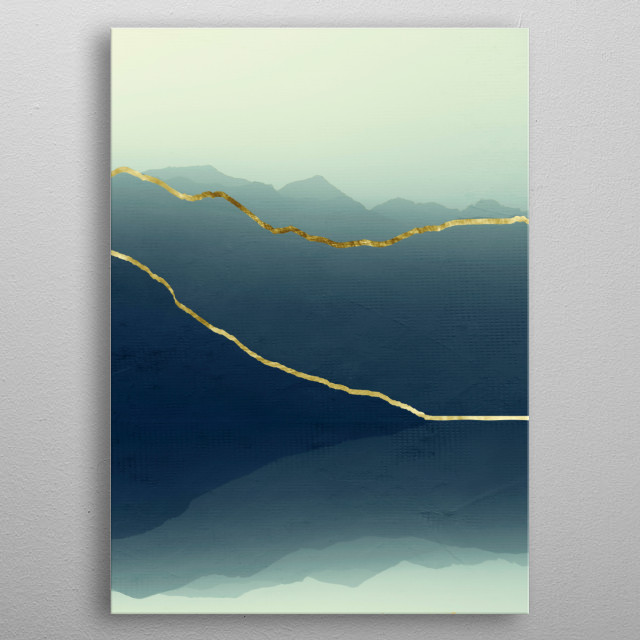 Mountain landscape reflected and separated with gold en lines metal poster