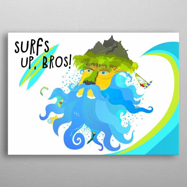 Surf island metal poster