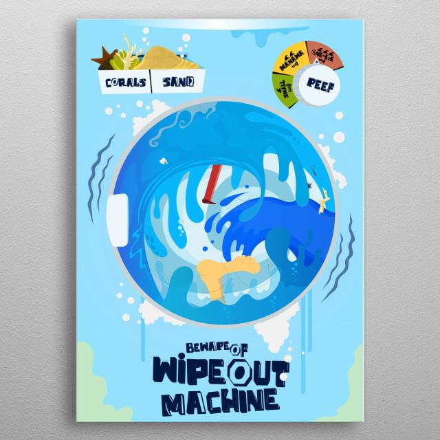 beware of wipeout machine metal poster