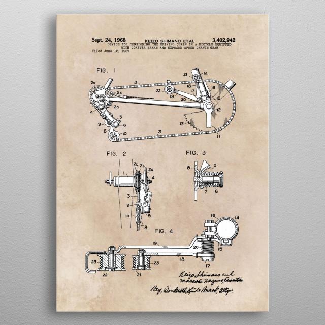 patent Shimano coaster brake 1968 metal poster