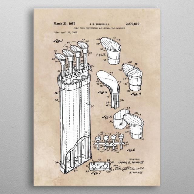 patent Turnbull 1959 golf club protecting metal poster