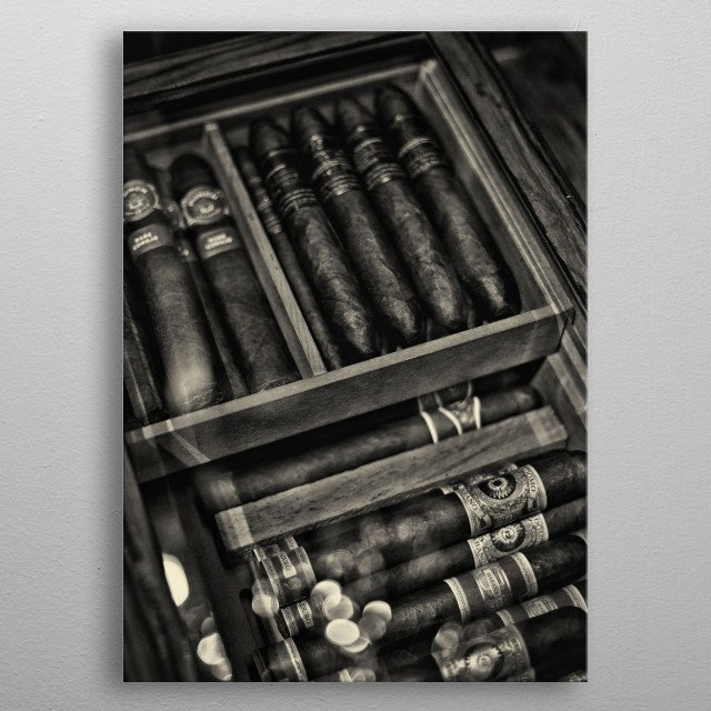 Monochrome photography of luxury aged cigars collection in black and white metal poster