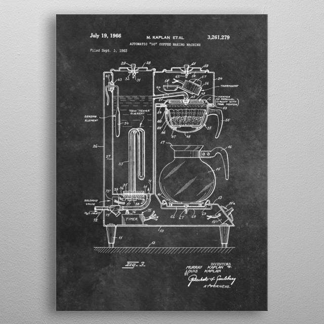 Kaplan 1966 Automatic Coffee making machine metal poster
