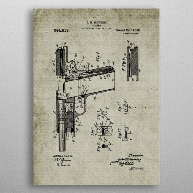 1911 Firearm - Patent metal poster
