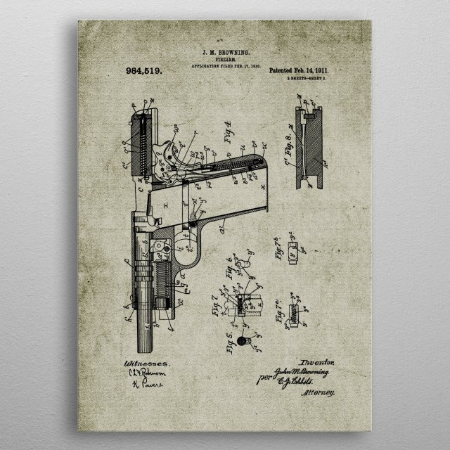 High-quality metal print from amazing Firearm Patent Drawing No2 collection will bring unique style to your space and will show off your personality. metal poster