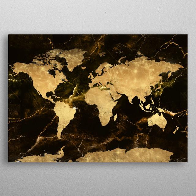 world map gold 4 metal poster