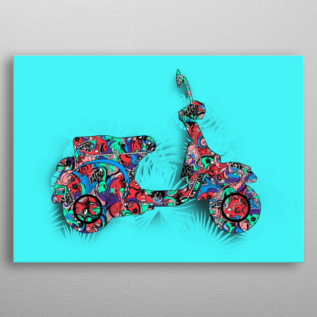 retro scooter 3 metal poster