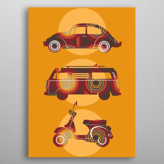 retro wheels metal poster
