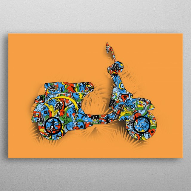 retro scooter metal poster