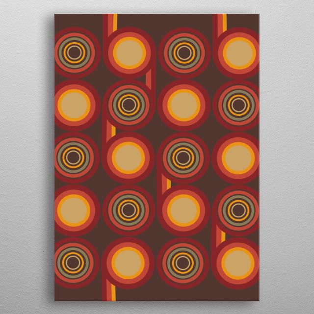 retro pattern circles 2 metal poster