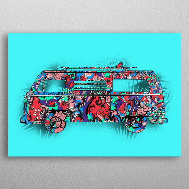 retro van 2 metal poster