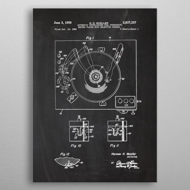 1952 Record Player metal poster