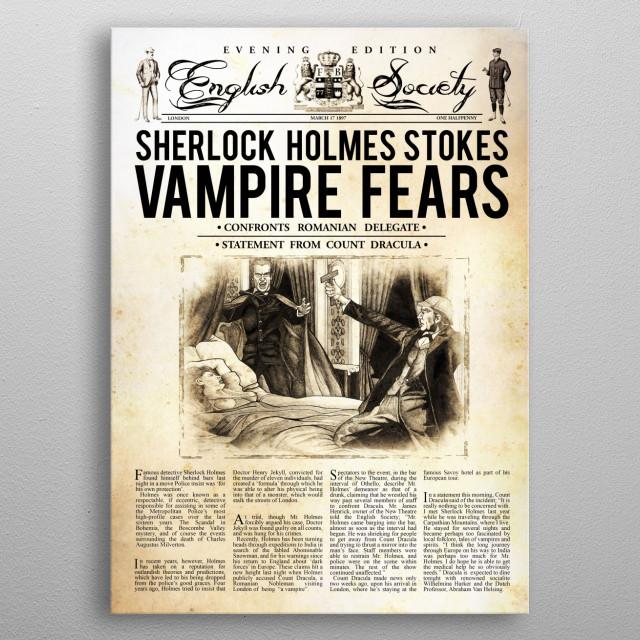 Sherlock Holmes vs Dracula metal poster