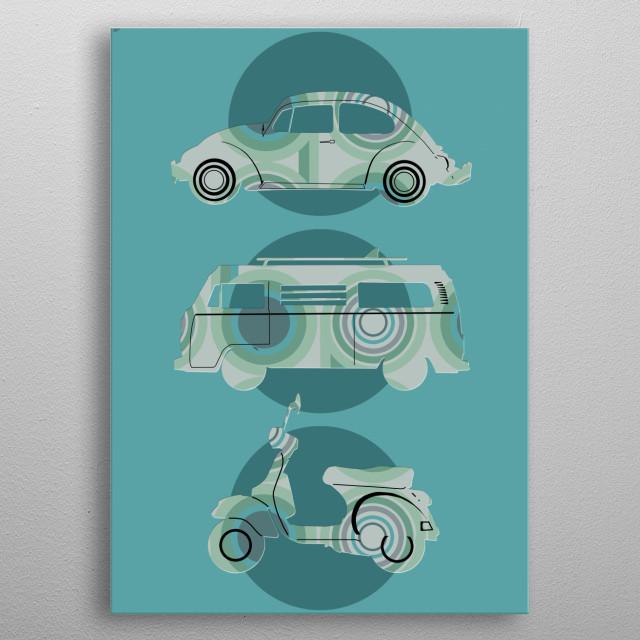 retro wheels 3 metal poster