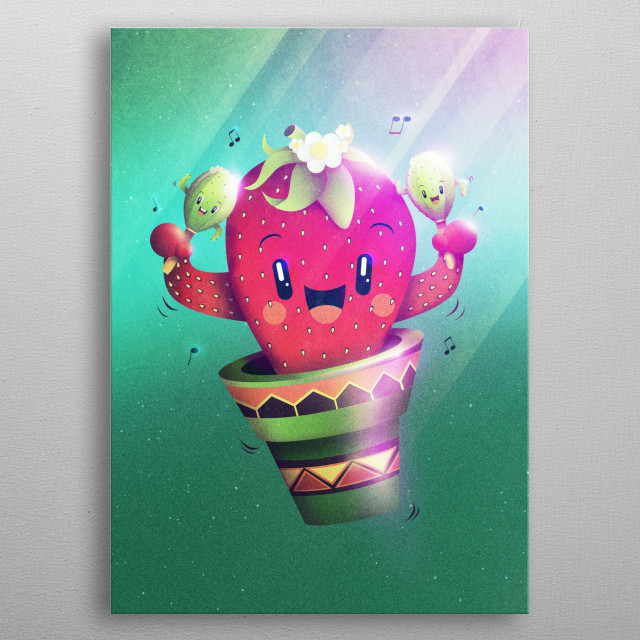 For all succulents and cactus lovers out there! Have a fun latin dance with this funny strawberry playing cacti maracas! A lovely illustratio... metal poster