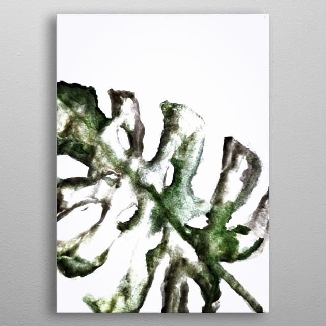 Watercolor Monstera metal poster
