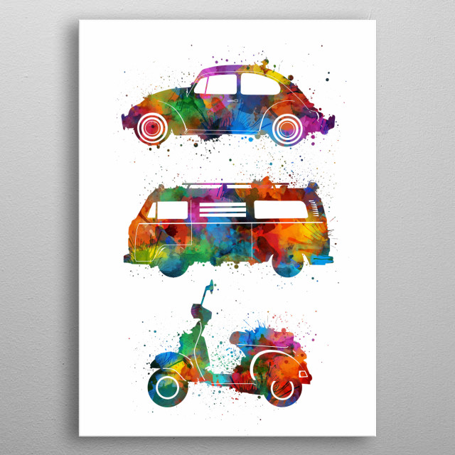 retro wheels 5 metal poster