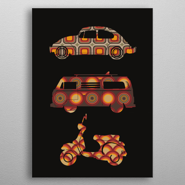 retro wheels 4 metal poster