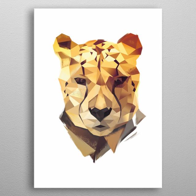 Modern cheetah head metal poster
