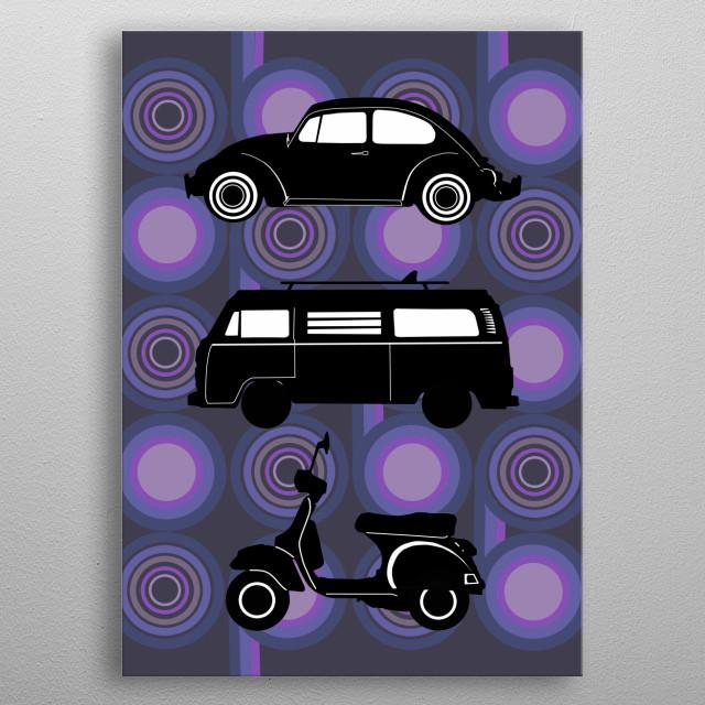 retro wheel 4 metal poster