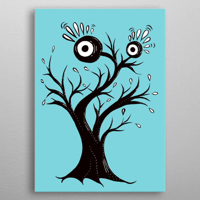 Funny Tree Monster Anxious metal poster