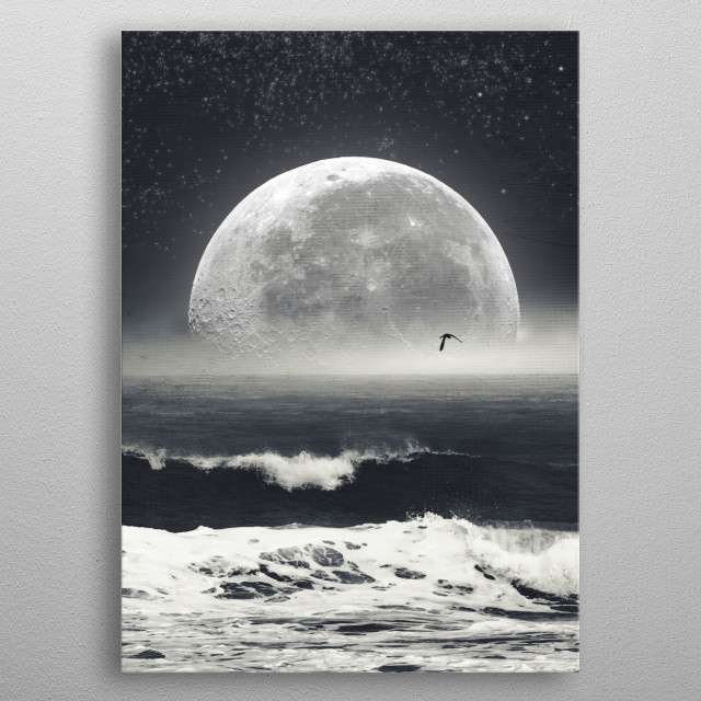 Surreal seascape with full moon metal poster