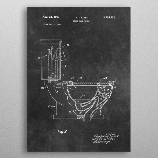 Kubit 1967 Flush tank toilet metal poster