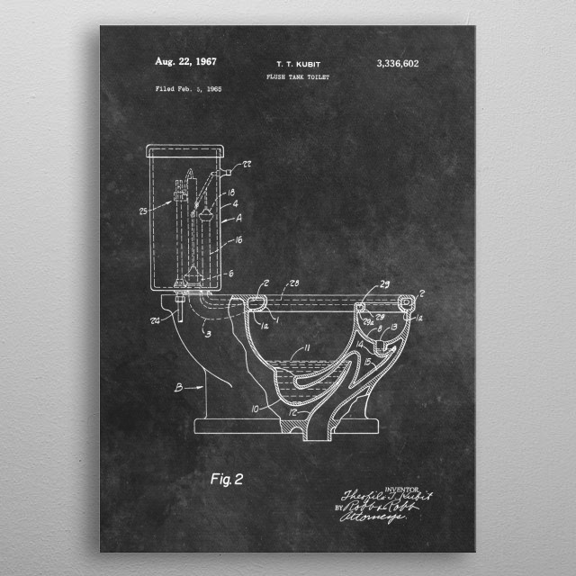 Kubit 1967 Flush tank toilet metal poster