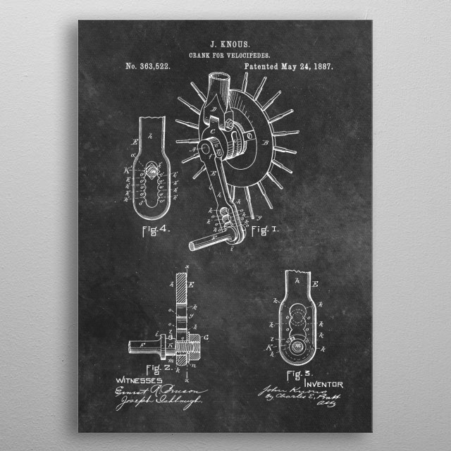 Knous 1887 Crank for velocipedes metal poster