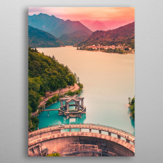 Sunset over the lake metal poster