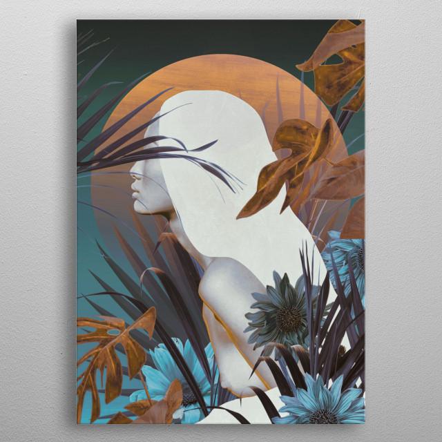 Golden Tropical Garden metal poster
