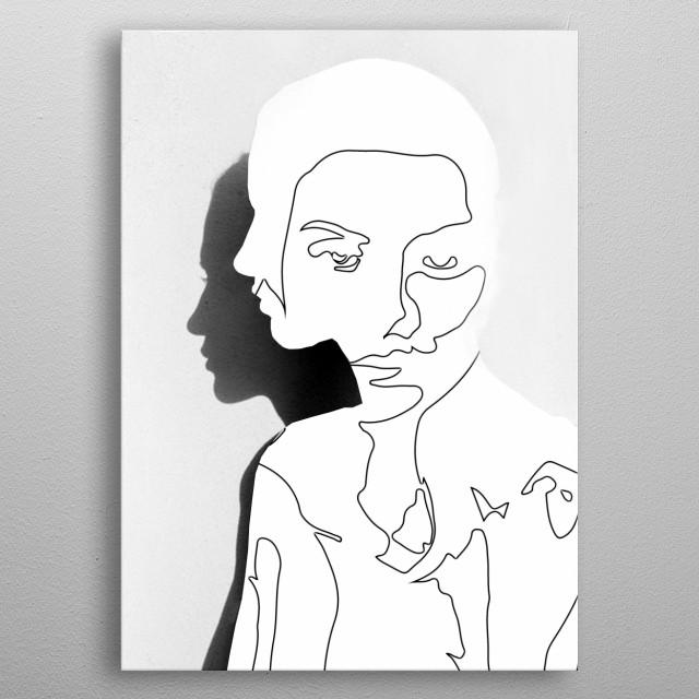 Portrait (Line Drawing )  metal poster