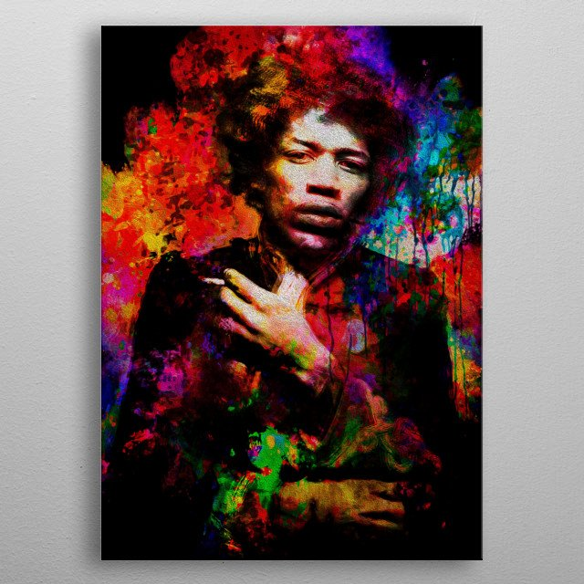 """Art inspired by the life and work of """"Jimi Hendrix"""" metal poster"""