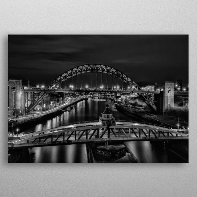 Newcastle bridges at night metal poster