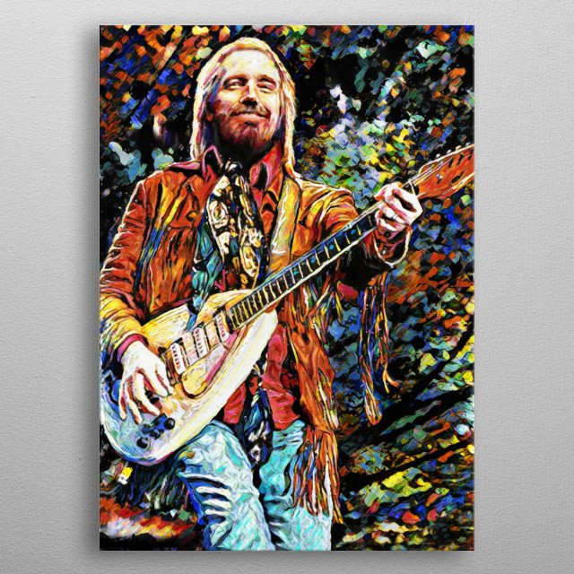 YOU BELONG AMONG THE WILDFLOWERS!! I created this Tom Petty art with a mixed-medium process. Painted with many different stroke styles to ref... metal poster