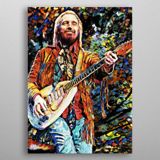 YOU BELONG AMONG THE WILDFLOWERS!! I created this Tom Petty art with a mixed-medium process. Painted with many different stroke styles to reflect the feeling of the subject metal poster