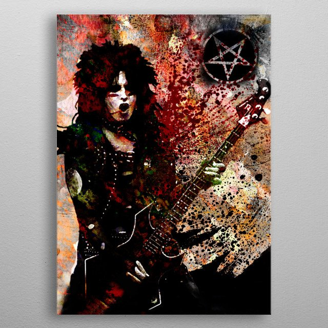 KICKSTART MY HEART!! I created this Nikki Sixx Motley Crue Art with a mixed-medium process. Painted with many different stroke styles to refl... metal poster