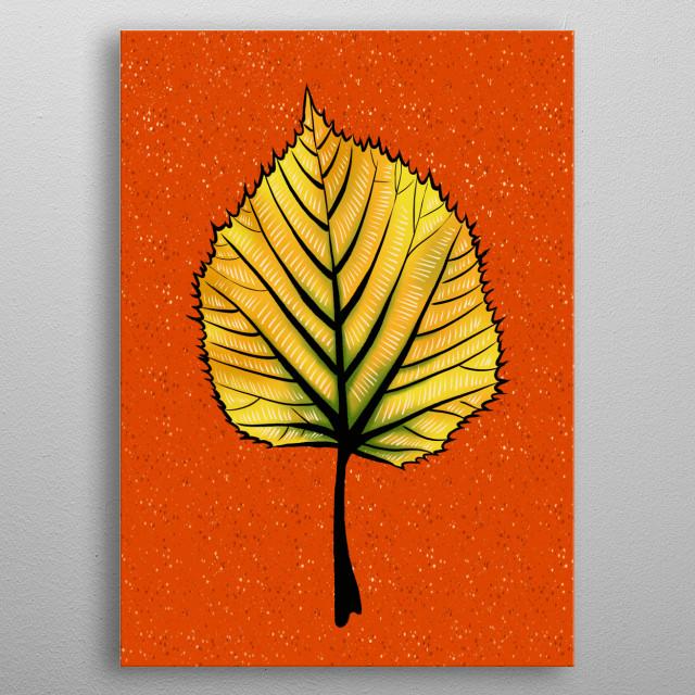 Yellow Linden Leaf metal poster