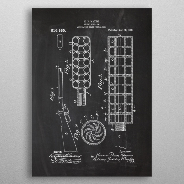 1908 Silent Firearm metal poster