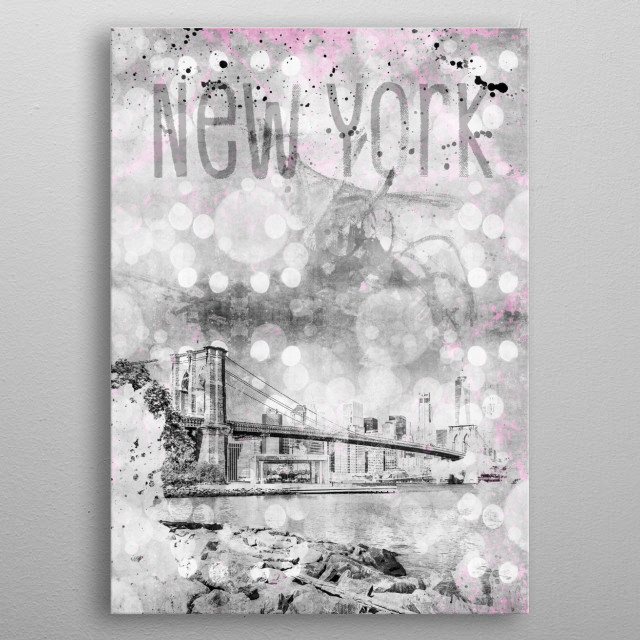 The Brooklyn Bridge iconnects the boroughs of Manhattan and Brooklyn by spanning the East River. Picturesquely active passages, modern colour... metal poster