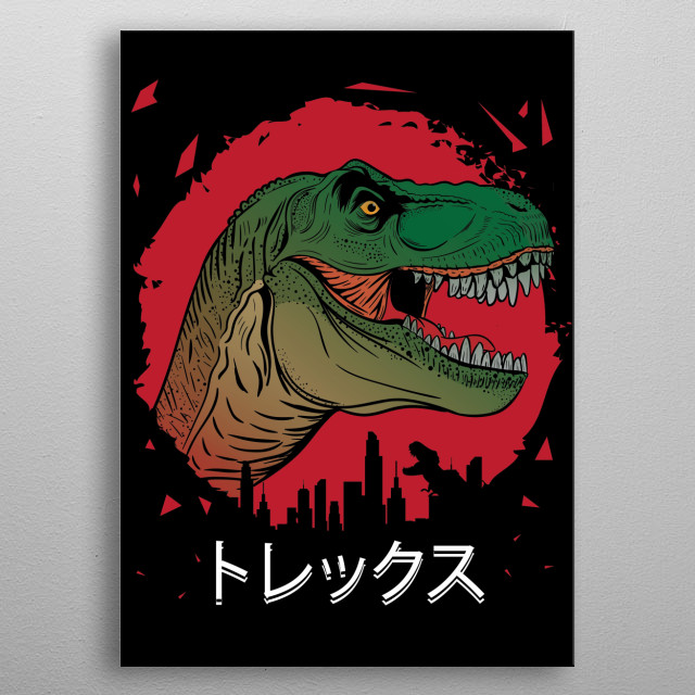 TRex in the City metal poster
