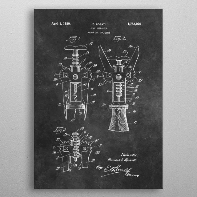 patent Rosati 1928 Cork extractor metal poster