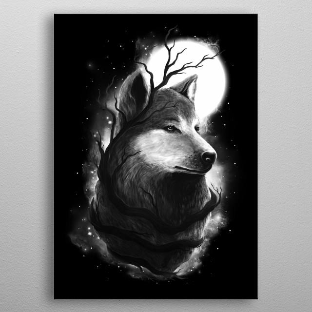 Night Wolf metal poster