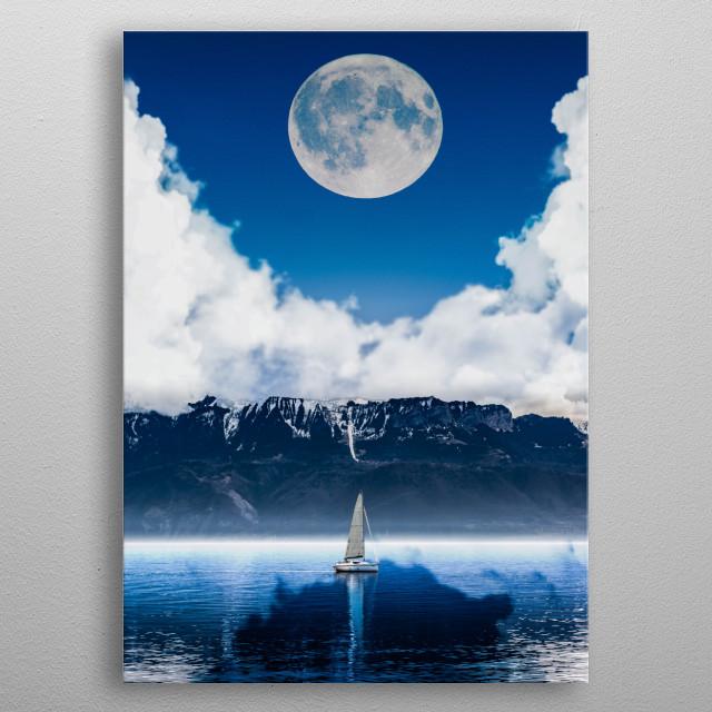 Moon & mountain & sea metal poster