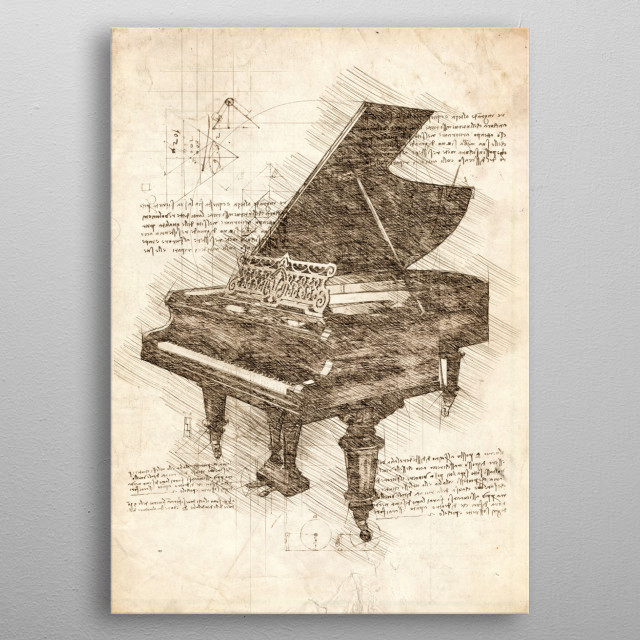 Sketch of a Grand Piano metal poster